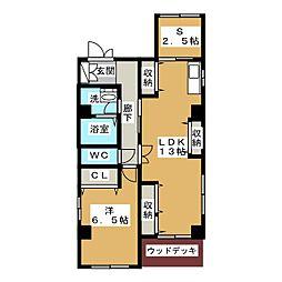西野コーポ2[1階]の間取り