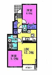 ユニゾン乗竹 B[1階]の間取り