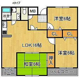 マンション明野[3階]の間取り