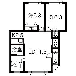 JR学園都市線 八軒駅 徒歩6分の賃貸アパート 2階2LDKの間取り