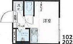 Nano北新宿2 地下1階ワンルームの間取り