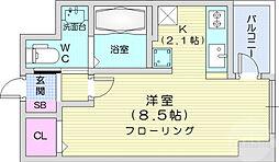 KDXレジデンス仙台駅東 5階ワンルームの間取り