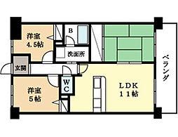 ユニライフ新田辺[4階]の間取り