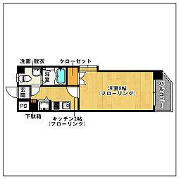 ピュアドーム六本松ローゼ[203号室]の間取り
