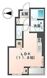 JR高徳線 屋島駅 徒歩10分の賃貸アパート 1階ワンルームの間取り