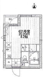 東武伊勢崎線 五反野駅 徒歩6分の賃貸マンション 5階ワンルームの間取り
