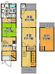 [一戸建] 兵庫県尼崎市杭瀬南新町1丁目 の賃貸【/】の間取り