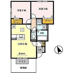 兵庫県神戸市西区北別府4丁目の賃貸アパートの間取り