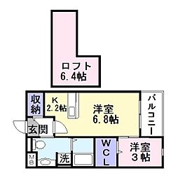 大阪府大東市諸福2丁目の賃貸アパートの間取り
