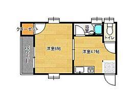 福岡市地下鉄空港線 西新駅 徒歩8分の賃貸マンション 1階1DKの間取り