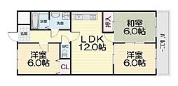 大阪府堺市西区浜寺元町2丁の賃貸マンションの間取り