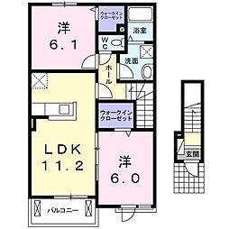 JR高徳線 板野駅 徒歩26分の賃貸アパート 2階2LDKの間取り