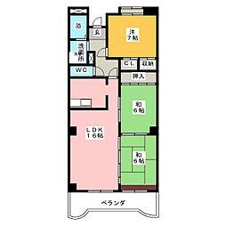 愛知県名古屋市緑区鳴海町字山下丁目の賃貸マンションの間取り