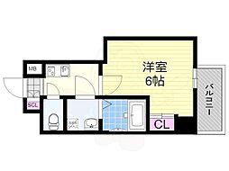 サムティ姫島LUMETO 2階1Kの間取り
