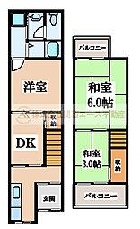 [テラスハウス] 大阪府堺市堺区緑ヶ丘北町4丁 の賃貸【/】の間取り