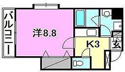 フェリス 4階1Kの間取り