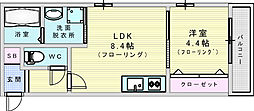 JR東西線 加島駅 徒歩4分の賃貸アパート 1階1LDKの間取り