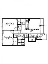 プラシードセレノC棟[1階]の間取り