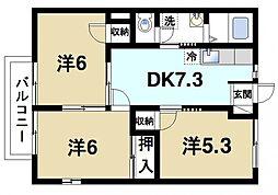 ハイツ奈良道[2階]の間取り