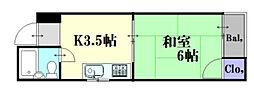広島県広島市中区寺町の賃貸マンションの間取り
