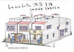 完成イメージパース 2階建て 4LDK屋上ロフト付き