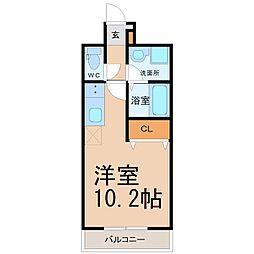 名古屋市営桜通線 野並駅 徒歩2分の賃貸マンション 2階ワンルームの間取り