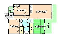 ガーデンハイツ桃山台弐番館[2階]の間取り