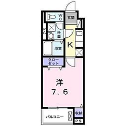 プロムナード桂川 1階1Kの間取り