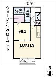 ガナドール B棟[1階]の間取り