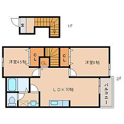近鉄天理線 二階堂駅 徒歩5分の賃貸アパート 2階2LDKの間取り
