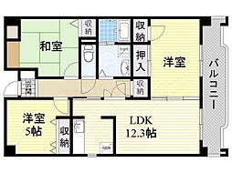 北大阪急行電鉄 桃山台駅 徒歩12分の賃貸マンション 4階3LDKの間取り