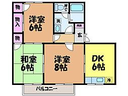 愛媛県松山市畑寺町の賃貸アパートの間取り