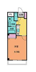 JR信越本線 北高崎駅 徒歩16分の賃貸マンション 6階1Kの間取り