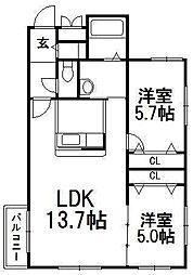 北海道札幌市西区発寒九条9丁目の賃貸マンションの間取り