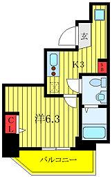 ランヴィ文京千駄木 8階1Kの間取り