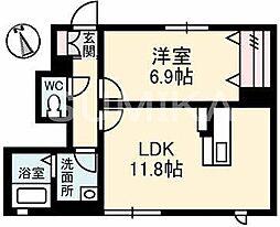 岡山県岡山市北区大供本町の賃貸アパートの間取り