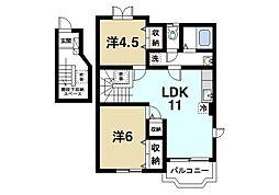 パークサイドコートI 2階2LDKの間取り