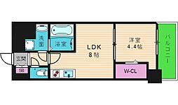 アーバネックス真田山 9階1LDKの間取り