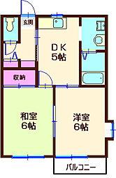 神奈川県横浜市神奈川区西大口の賃貸アパートの間取り