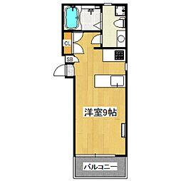 京王井の頭線 東松原駅 徒歩3分の賃貸マンション 2階ワンルームの間取り