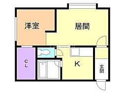 カムオンシティ東光 1階1LDKの間取り