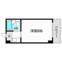 JR片町線(学研都市線) 鴫野駅 徒歩9分の賃貸マンション 4階ワンルームの間取り