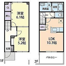 仮)当間・テラスハウス 1階2LDKの間取り