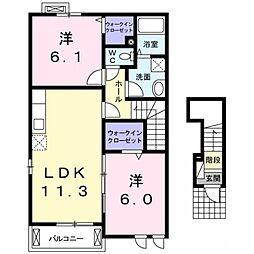 埼玉県熊谷市妻沼の賃貸アパートの間取り