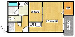 大阪府大阪市住之江区中加賀屋3丁目の賃貸アパートの間取り