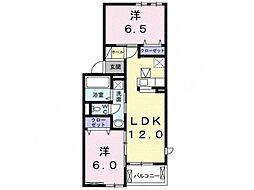 林アパートD 1階2LDKの間取り