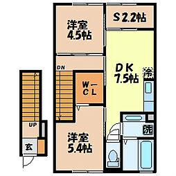 カノン・エム 2階2SDKの間取り