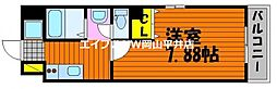 JR宇野線 備前西市駅 徒歩7分の賃貸マンション 2階1Kの間取り