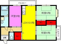 パストラーレ21[4階]の間取り