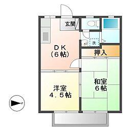 広島県福山市本庄町中1の賃貸アパートの間取り